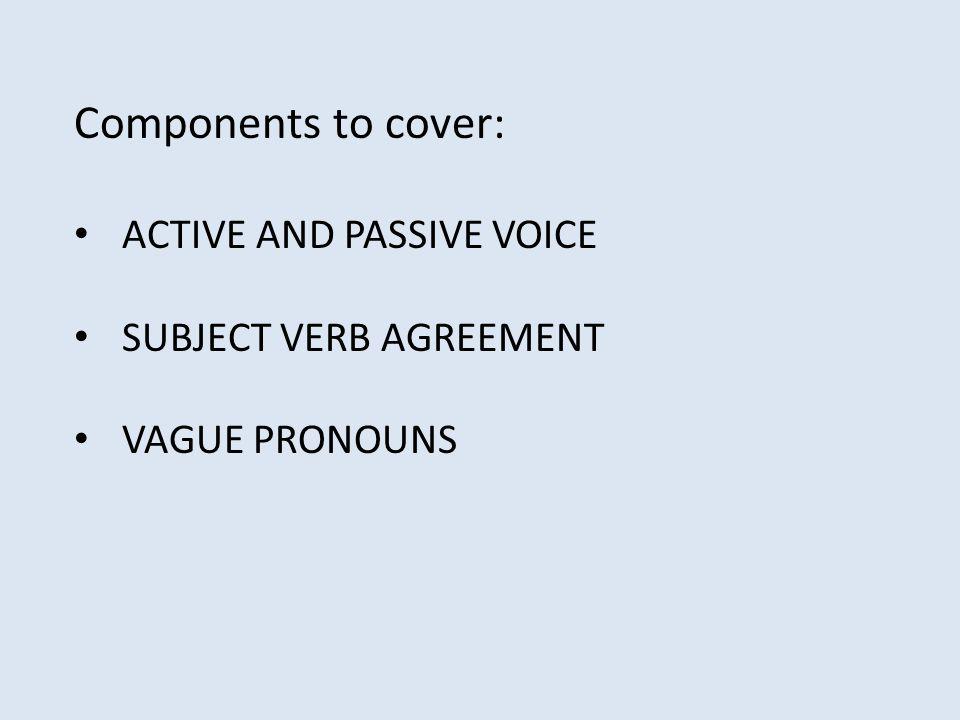 Active And Passive Voice Subject Verb Agreement Vague Pronouns Ppt