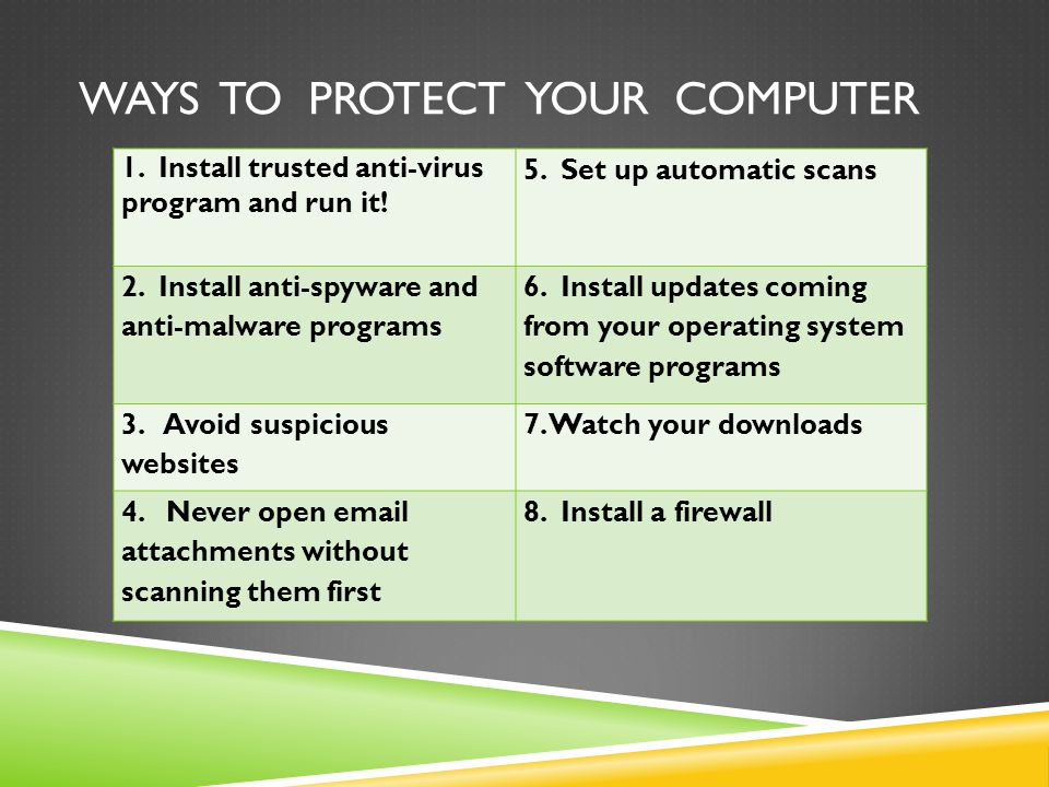 Ways to Protect your computer