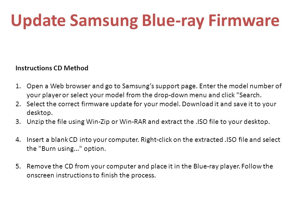 Update Samsung Blue-ray Firmware