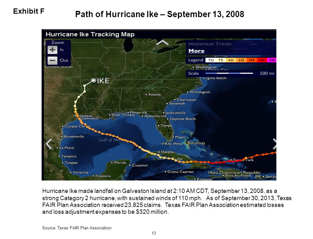 Path of Hurricane Ike – September 13, 2008