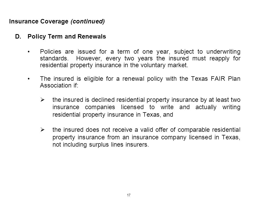 Insurance Coverage (continued)