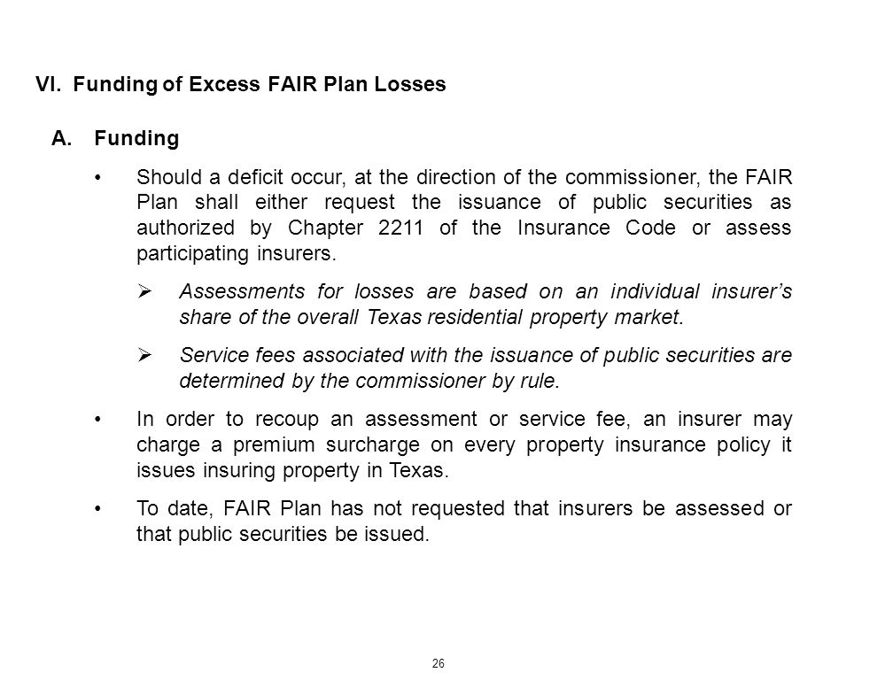 VI. Funding of Excess FAIR Plan Losses