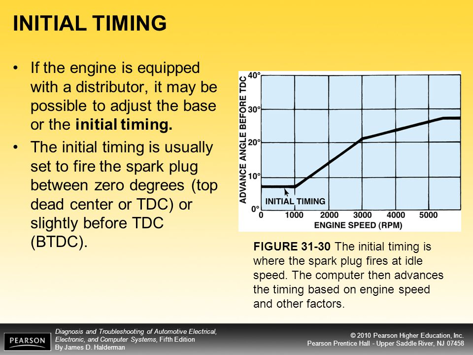 INITIAL TIMING If the engine is equipped with a distributor, it may be possible to adjust the base or the initial timing.