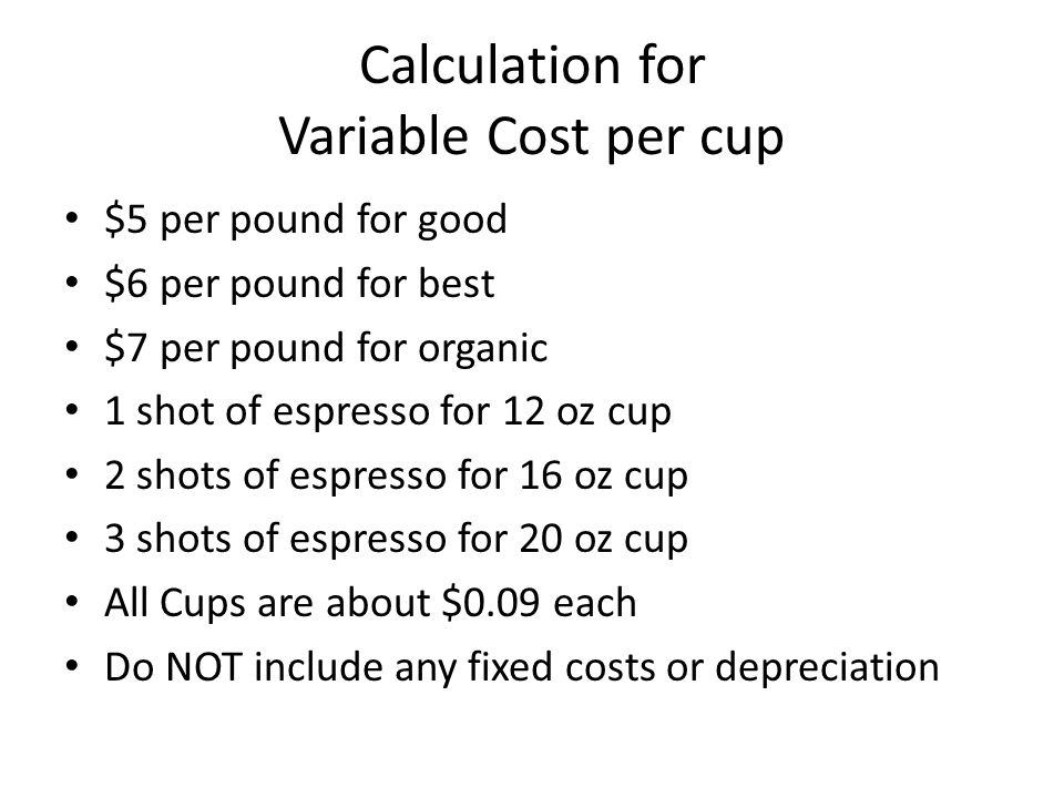 Cost Of Making A Cup Coffee