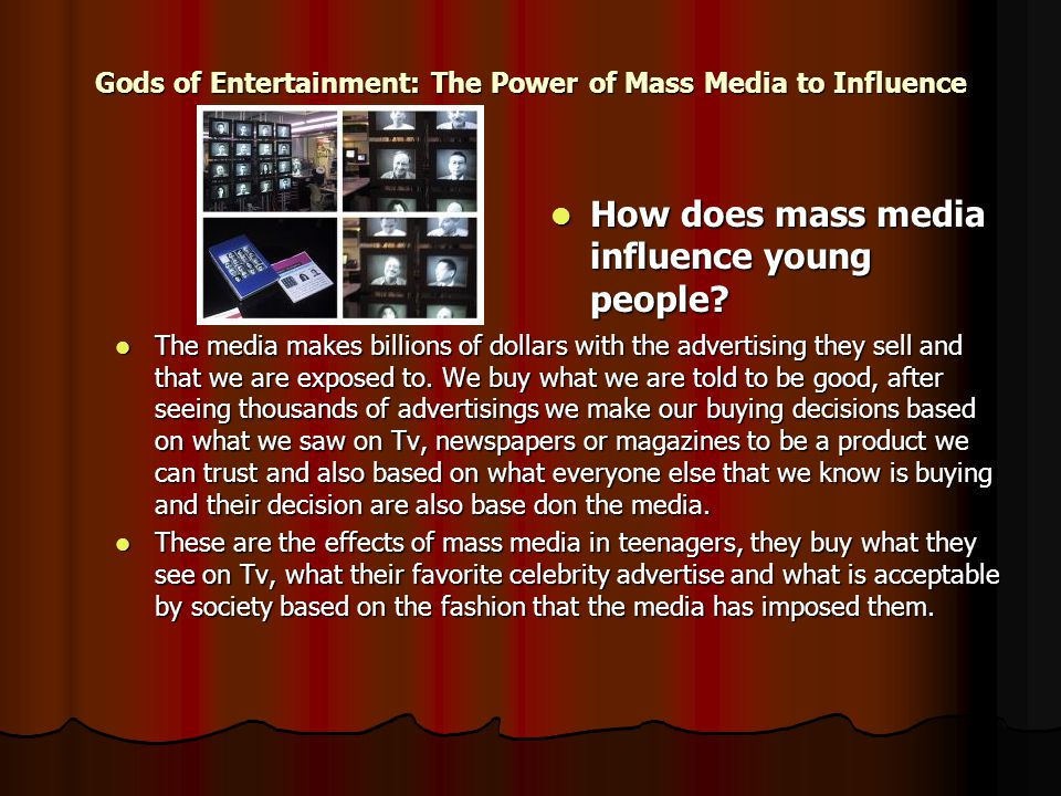 the rise of the mass media Media studies lecturers teach students that by understanding the power and influence of the news and the mass media, and by understanding its failures, people are better able to resist the power of 'the media' 1 read on.