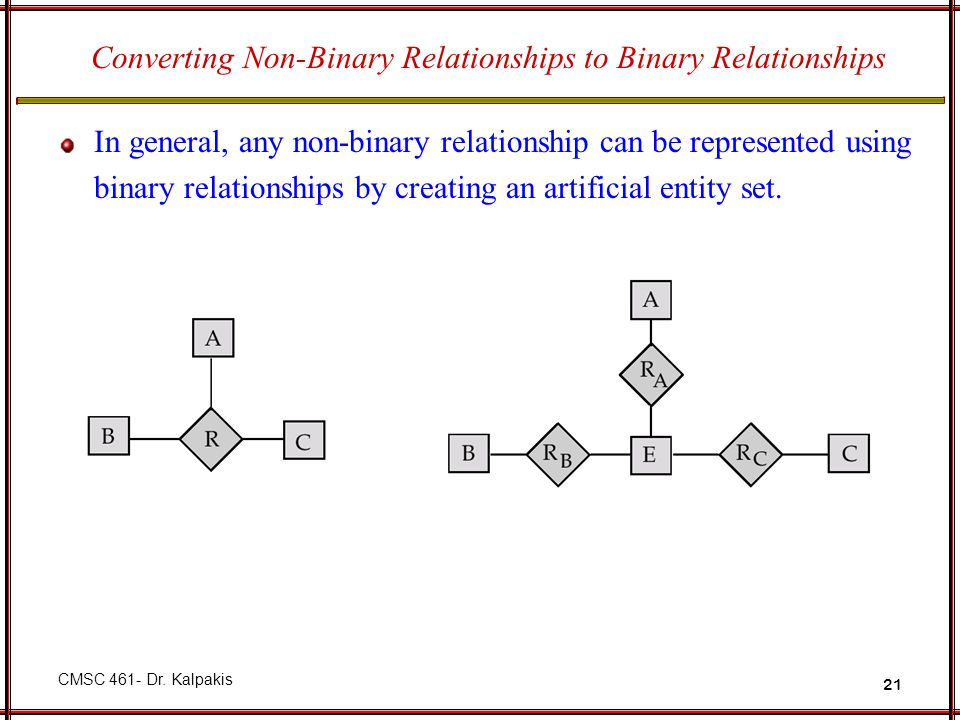 Converting Non-Binary Relationships to Binary Relationships