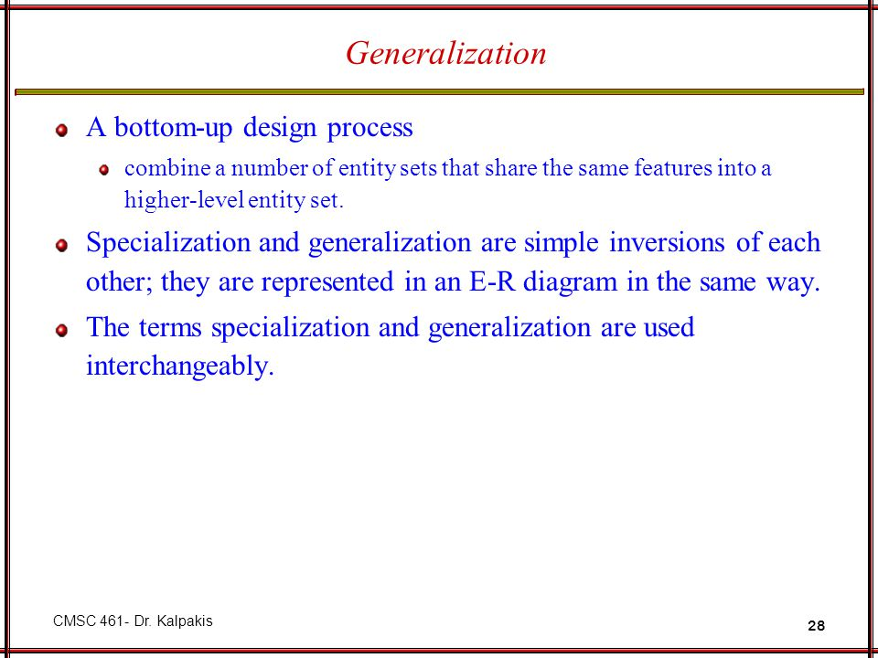 Generalization A bottom-up design process