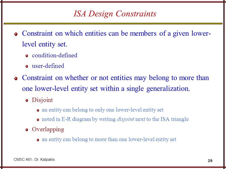 ISA Design Constraints