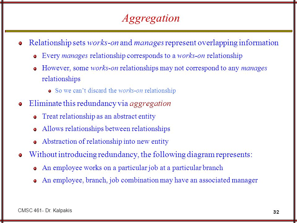 Aggregation Relationship sets works-on and manages represent overlapping information.