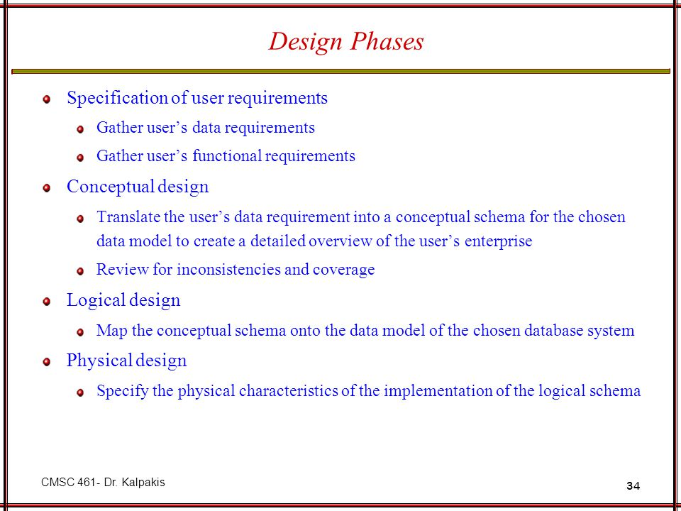 Design Phases Specification of user requirements Conceptual design