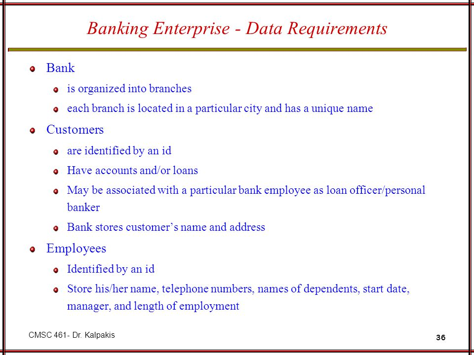 Banking Enterprise - Data Requirements