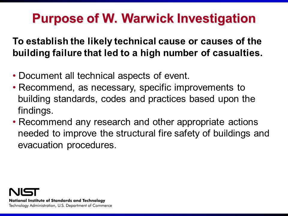 Purpose of W. Warwick Investigation