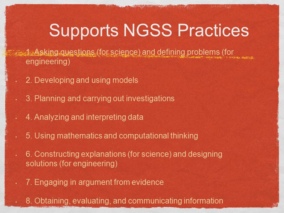 Supports NGSS Practices