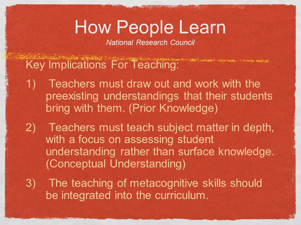 How People Learn National Research Council