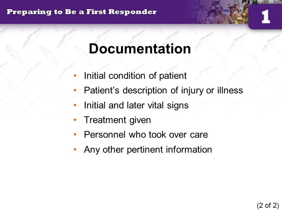 Documentation Initial condition of patient
