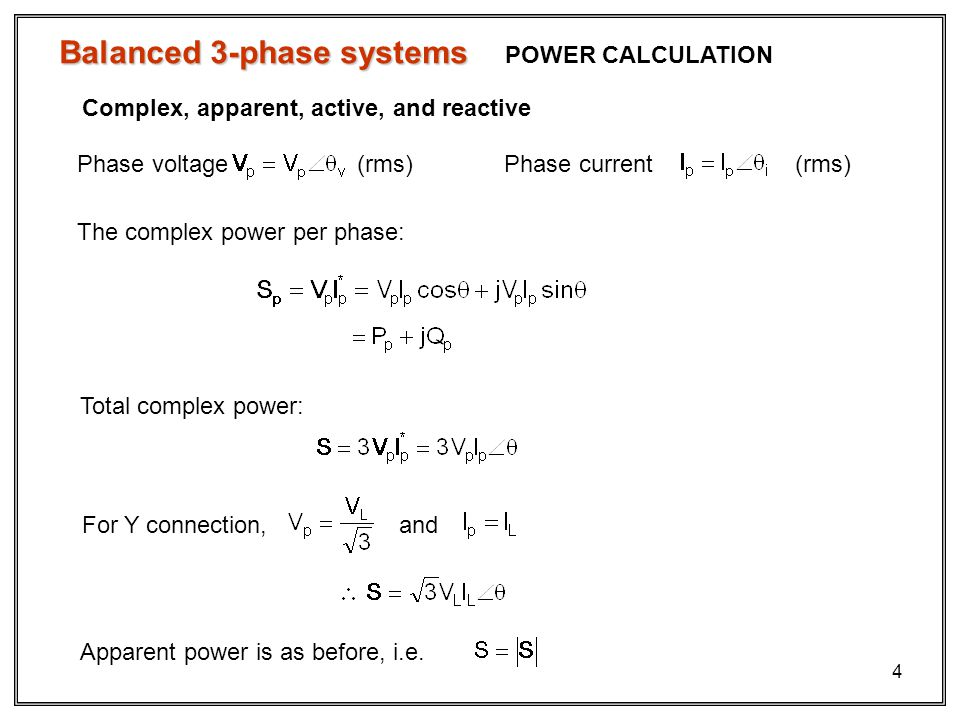 Balanced 3-phase systems
