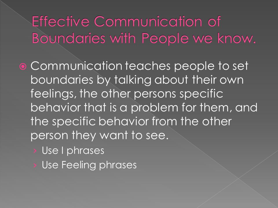 Effective Communication of Boundaries with People we know.