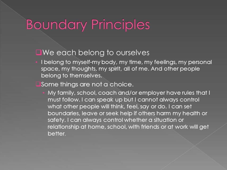Boundary Principles We each belong to ourselves