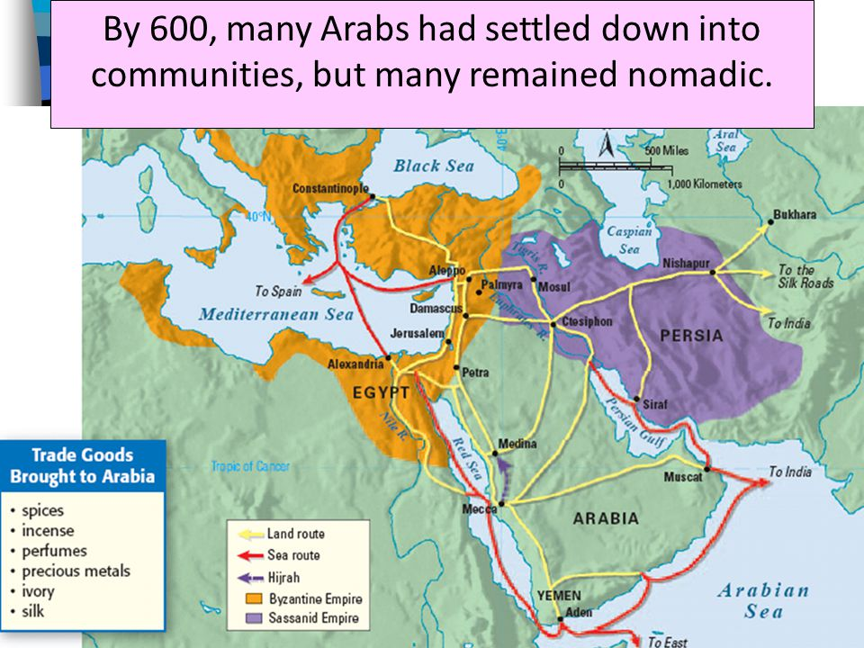 By 600, many Arabs had settled down into communities, but many remained nomadic.