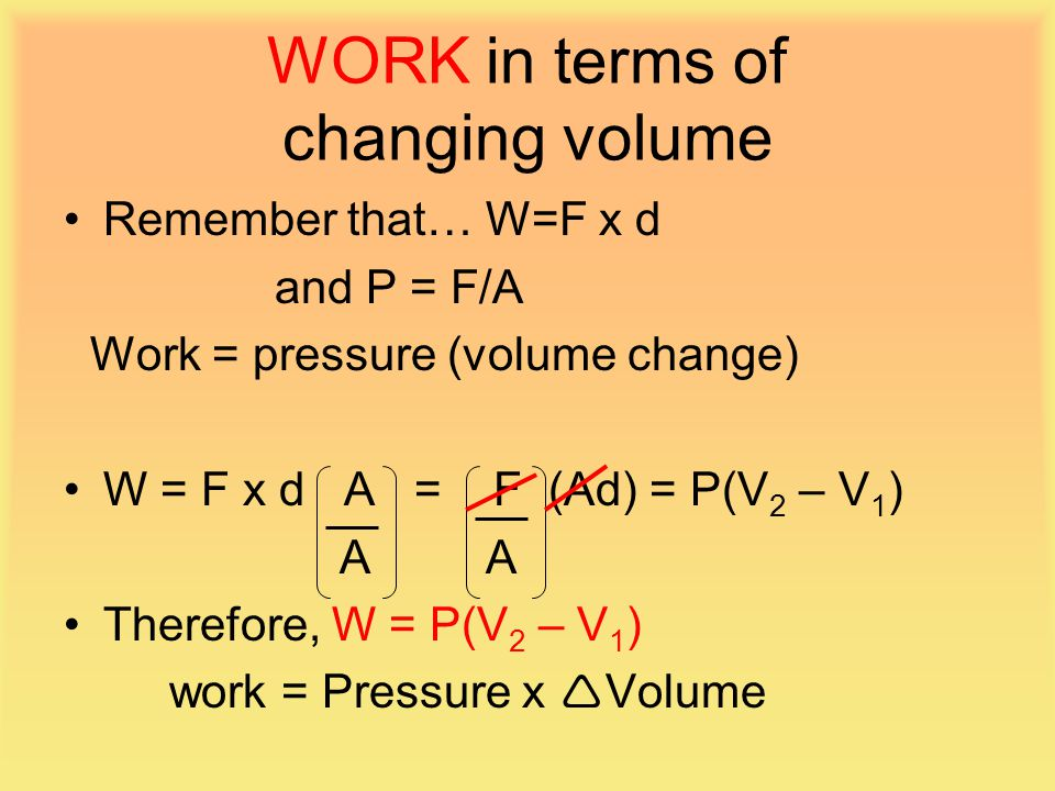 WORK in terms of changing volume