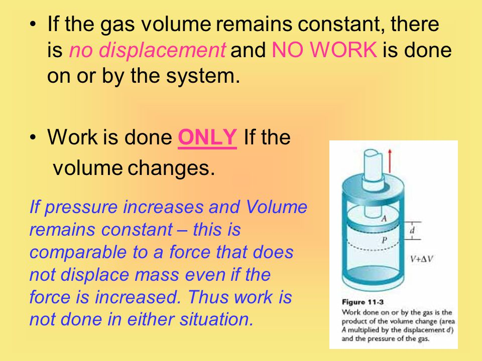 If the gas volume remains constant, there is no displacement and NO WORK is done on or by the system.