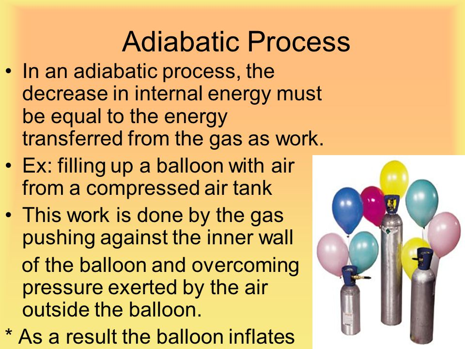 Adiabatic Process In an adiabatic process, the decrease in internal energy must be equal to the energy transferred from the gas as work.