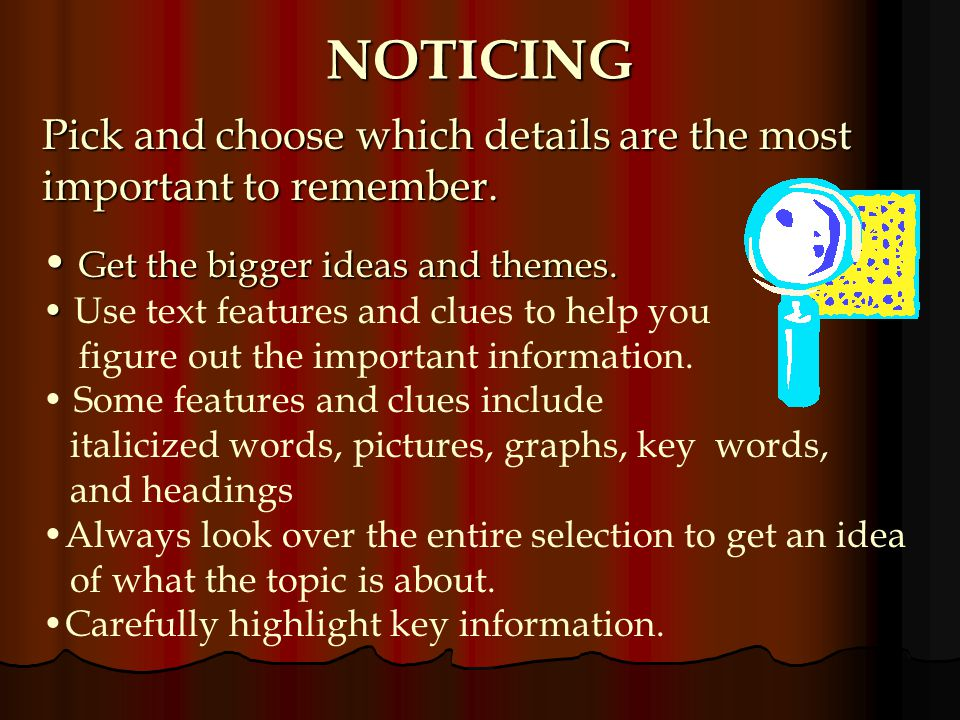 NOTICING Pick and choose which details are the most important to remember. Get the bigger ideas and themes.