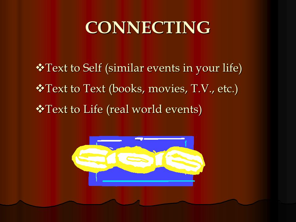 CONNECTING Text to Self (similar events in your life)