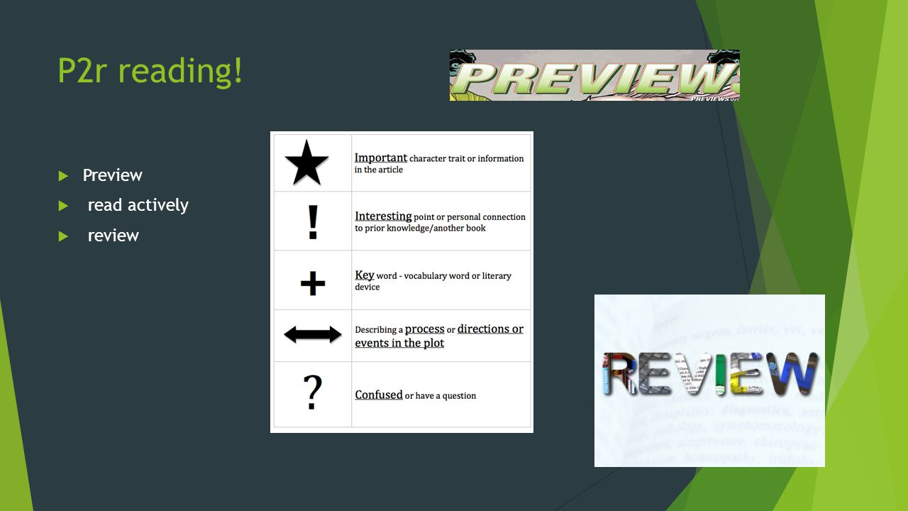 P2r reading! Preview read actively review
