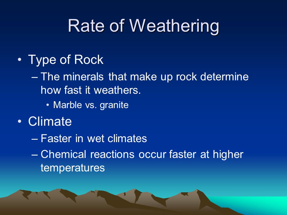 Rate of Weathering Type of Rock Climate