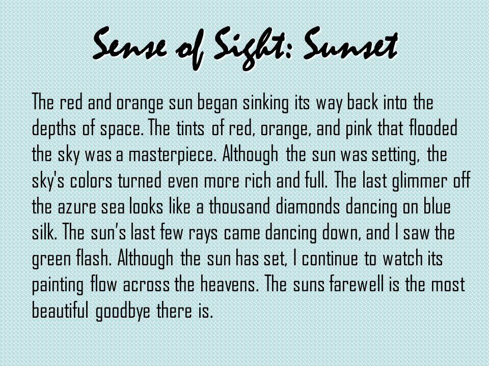 sunset descriptive paragraph