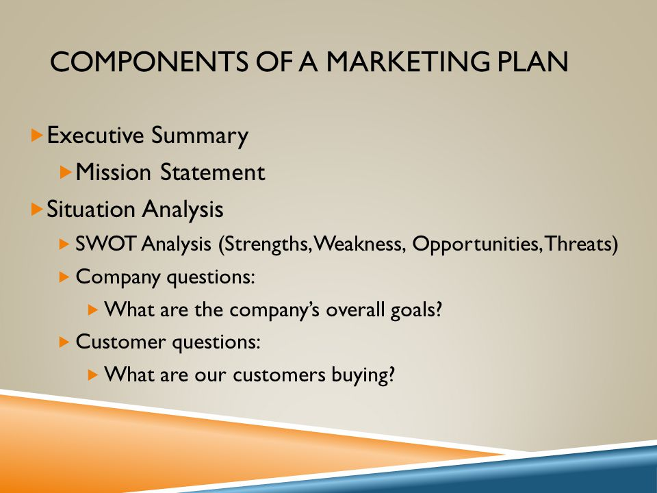 Components Marketing Plan | Entrepreneurship I Objective Ppt Video Online Download