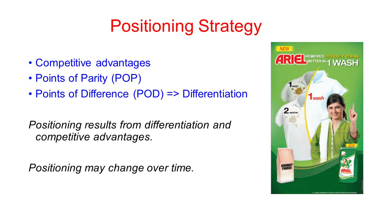 Positioning Strategy Competitive advantages Points of Parity (POP)