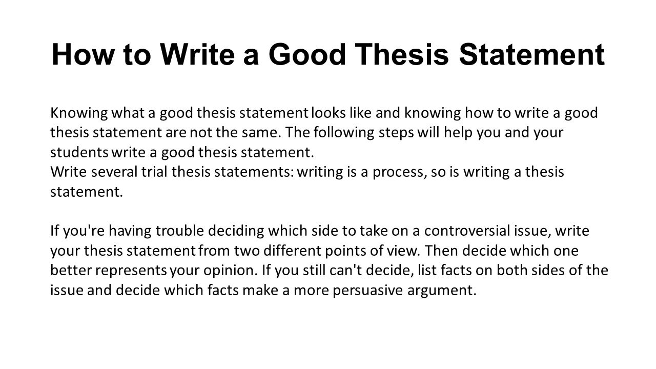 how to write a good thesis statement york