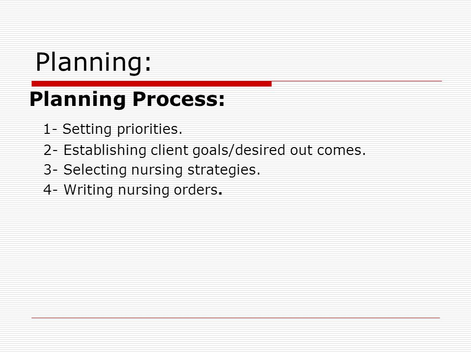 Planning: Planning Process: 1- Setting priorities.
