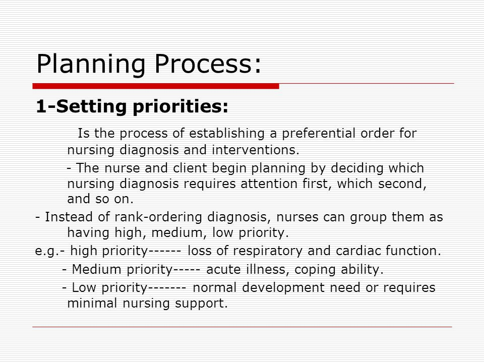Planning Process: 1-Setting priorities: