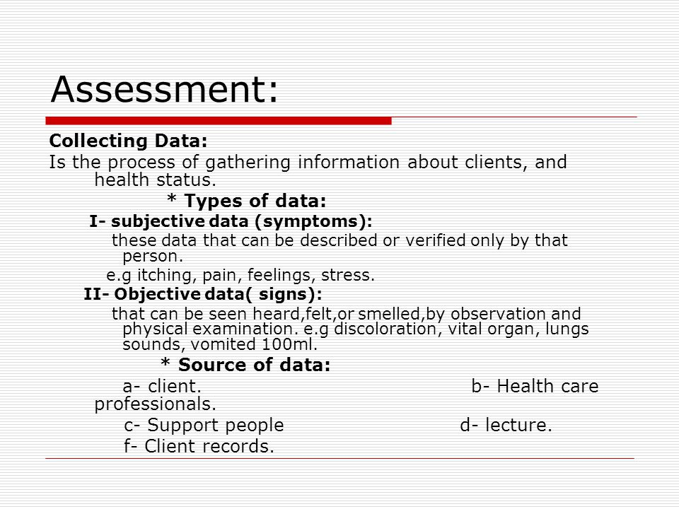 Assessment: Collecting Data: