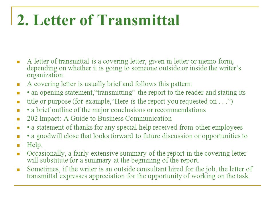 Formal reports an overview ppt download letter of transmittal spiritdancerdesigns Choice Image