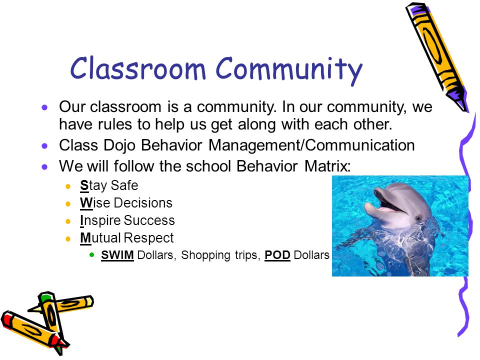 Classroom Community Our classroom is a community. In our community, we have rules to help us get along with each other.