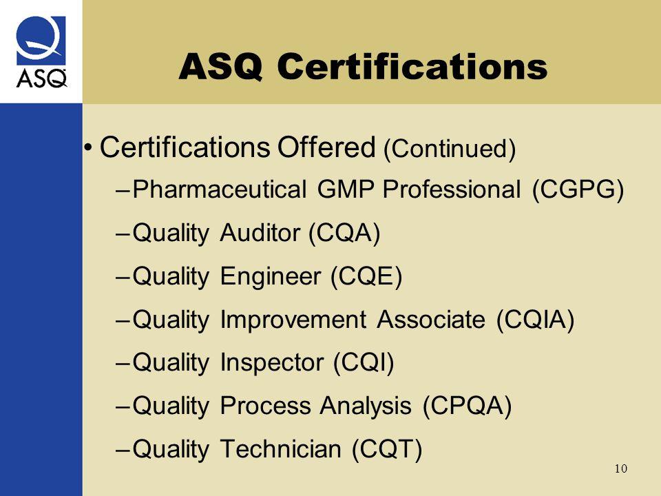 ASQ Certifications Joe Kirkpatrick September 22, ppt video online ...