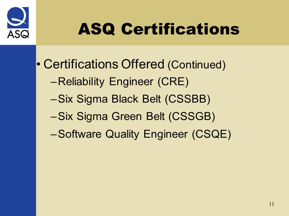 Asq Certifications Joe Kirkpatrick September 22 Ppt Video Online