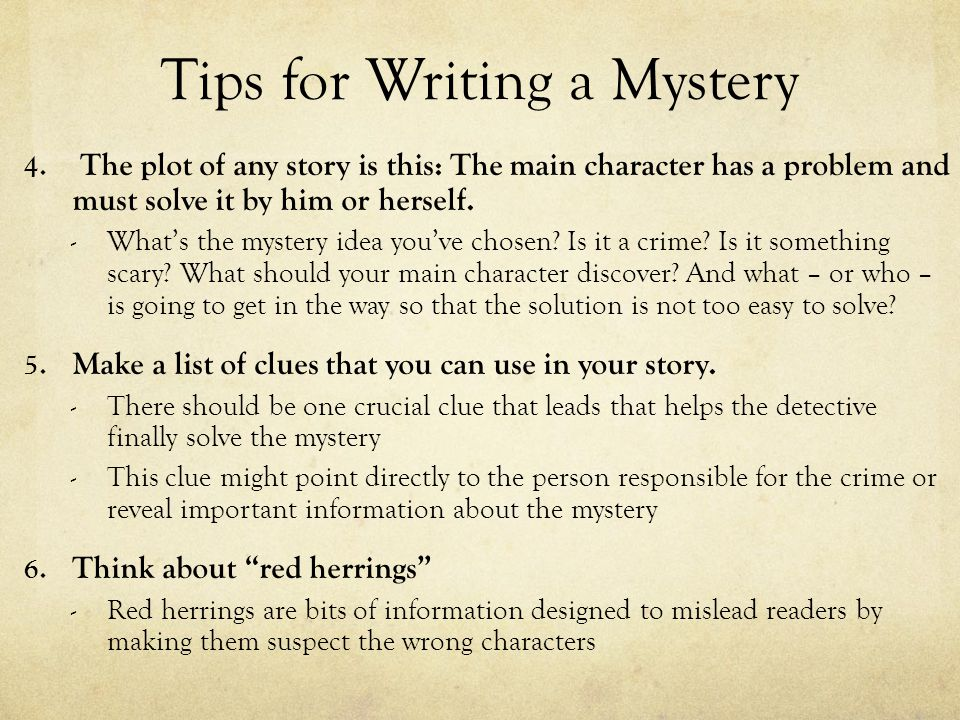 Tips for Writing a Mystery