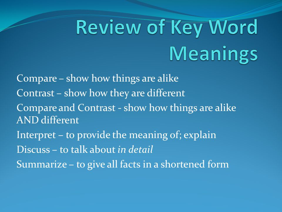 Review of Key Word Meanings