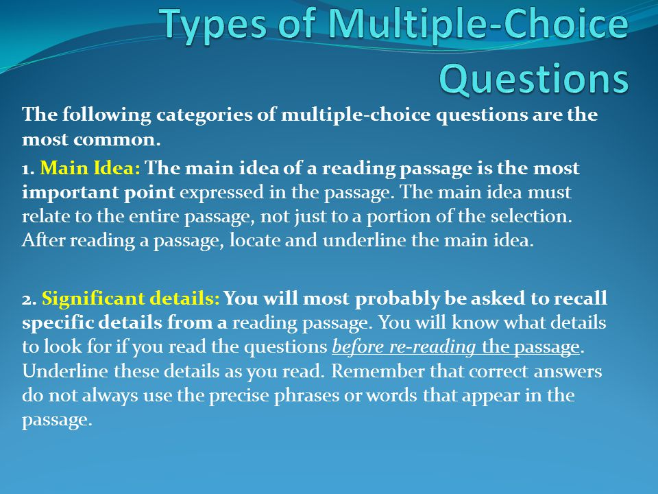 Types of Multiple-Choice Questions