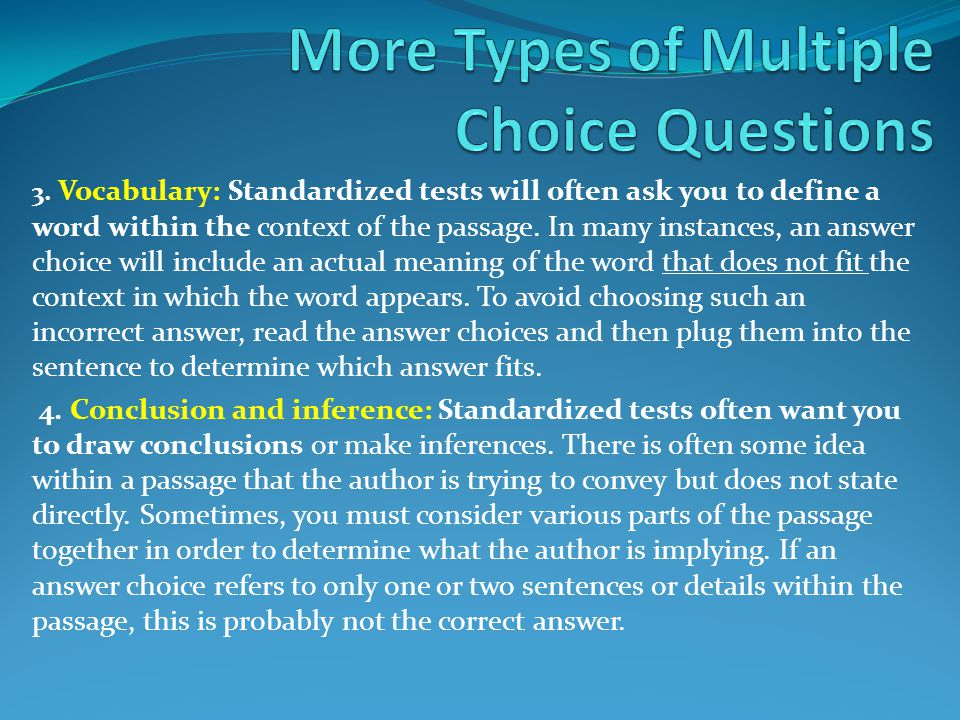 More Types of Multiple Choice Questions