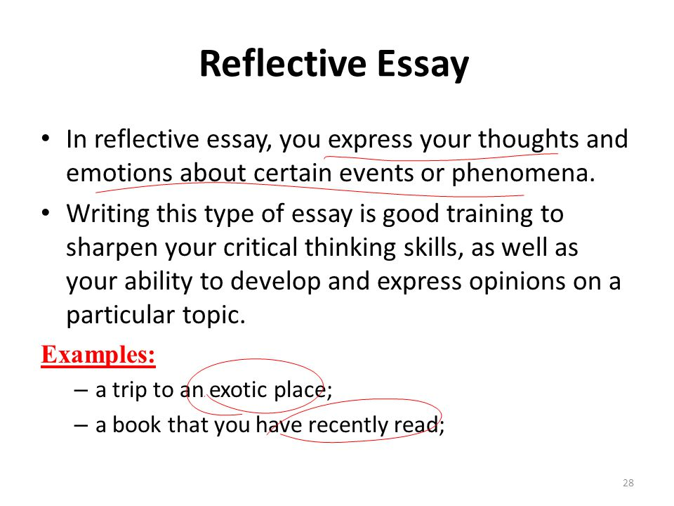 written reflective essays Reflective writing essay introduction the following reflective writing essay will centre on a i will be using gibbs' model of reflection, from gibbs, g (1988) for confidentiality purposes, i will.