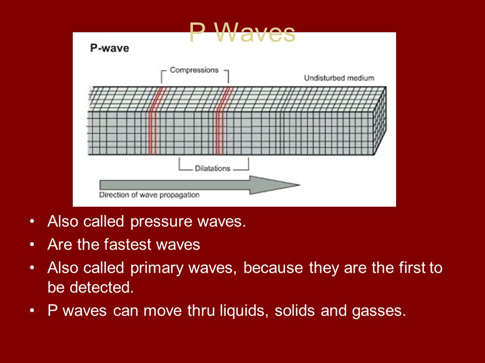 P Waves Also called pressure waves. Are the fastest waves