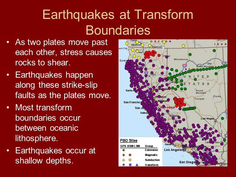 Earthquakes at Transform Boundaries