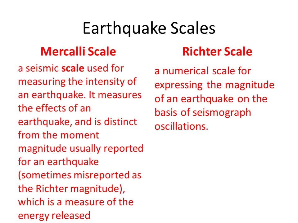 Earthquake Scales Mercalli Scale Richter Scale