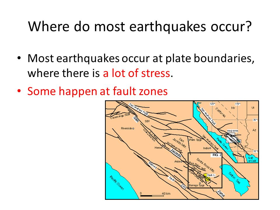 Where do most earthquakes occur